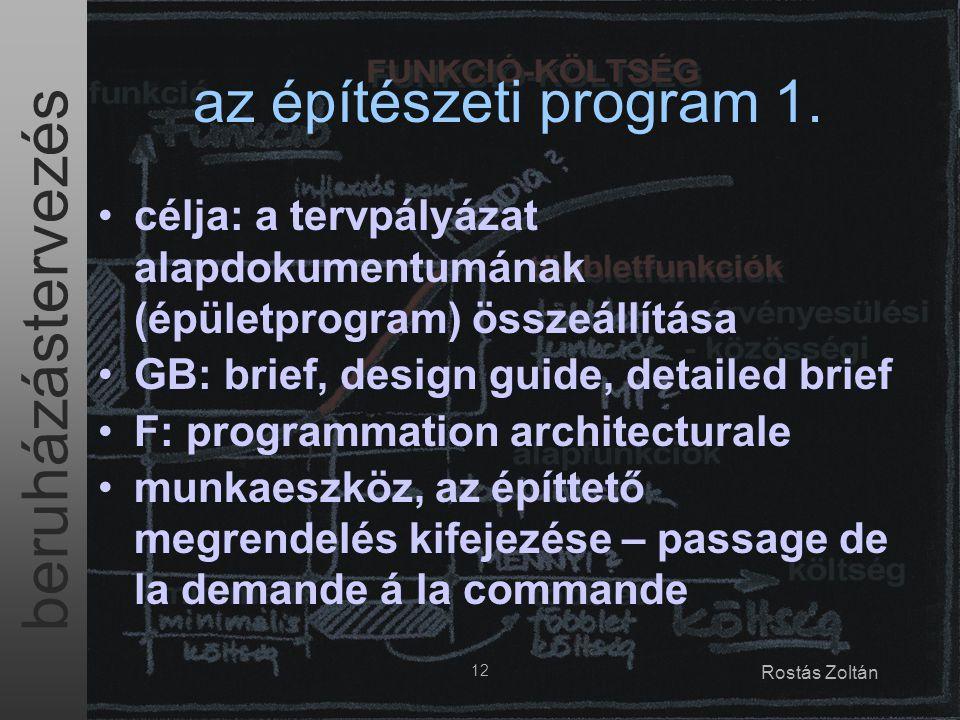 beruházástervezés 12 Rostás Zoltán az építészeti program 1. célja: a tervpályázat alapdokumentumának (épületprogram) összeállítása GB: brief, design g