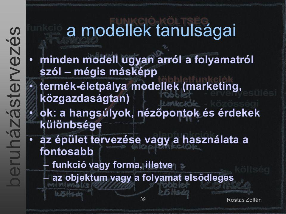 beruházástervezés 39 Rostás Zoltán a modellek tanulságai minden modell ugyan arról a folyamatról szól – mégis másképp termék-életpálya modellek (marke
