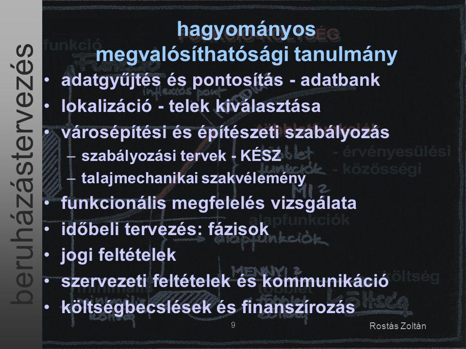 beruházástervezés 9 Rostás Zoltán adatgyűjtés és pontosítás - adatbank lokalizáció - telek kiválasztása városépítési és építészeti szabályozás –szabál