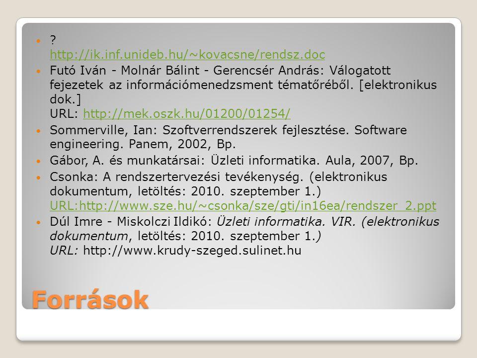 Források ? http://ik.inf.unideb.hu/~kovacsne/rendsz.doc http://ik.inf.unideb.hu/~kovacsne/rendsz.doc Futó Iván - Molnár Bálint - Gerencsér András: Vál