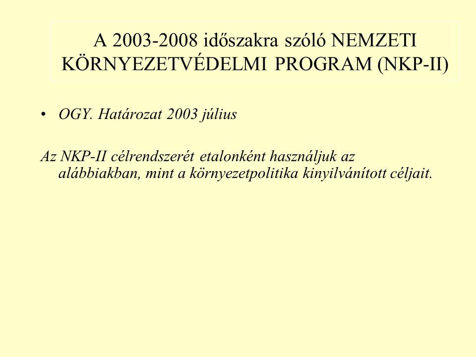 A 2003-2008 időszakra szóló NEMZETI KÖRNYEZETVÉDELMI PROGRAM (NKP-II) OGY.