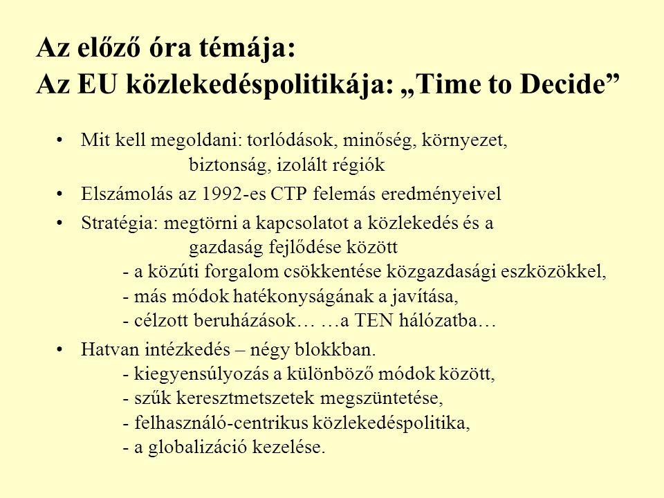 """Az előző óra témája: Az EU közlekedéspolitikája: """"Time to Decide Mit kell megoldani: torlódások, minőség, környezet, biztonság, izolált régiók Elszámolás az 1992-es CTP felemás eredményeivel Stratégia: megtörni a kapcsolatot a közlekedés és a gazdaság fejlődése között - a közúti forgalom csökkentése közgazdasági eszközökkel, - más módok hatékonyságának a javítása, - célzott beruházások… …a TEN hálózatba… Hatvan intézkedés – négy blokkban."""