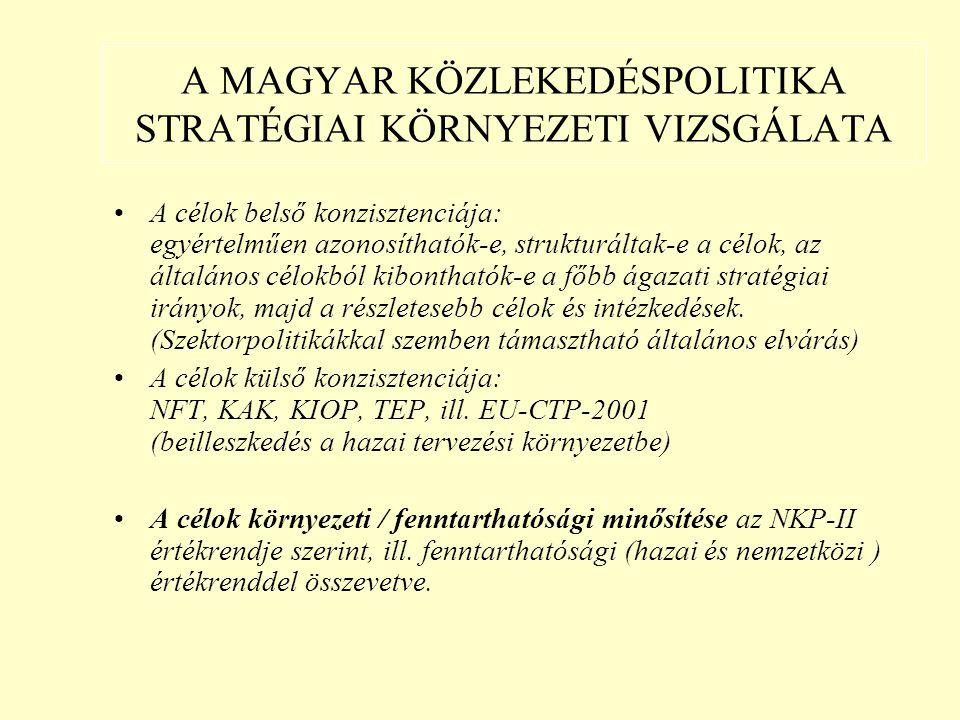 A MAGYAR KÖZLEKEDÉSPOLITIKA STRATÉGIAI KÖRNYEZETI VIZSGÁLATA A célok belső konzisztenciája: egyértelműen azonosíthatók-e, strukturáltak-e a célok, az általános célokból kibonthatók-e a főbb ágazati stratégiai irányok, majd a részletesebb célok és intézkedések.