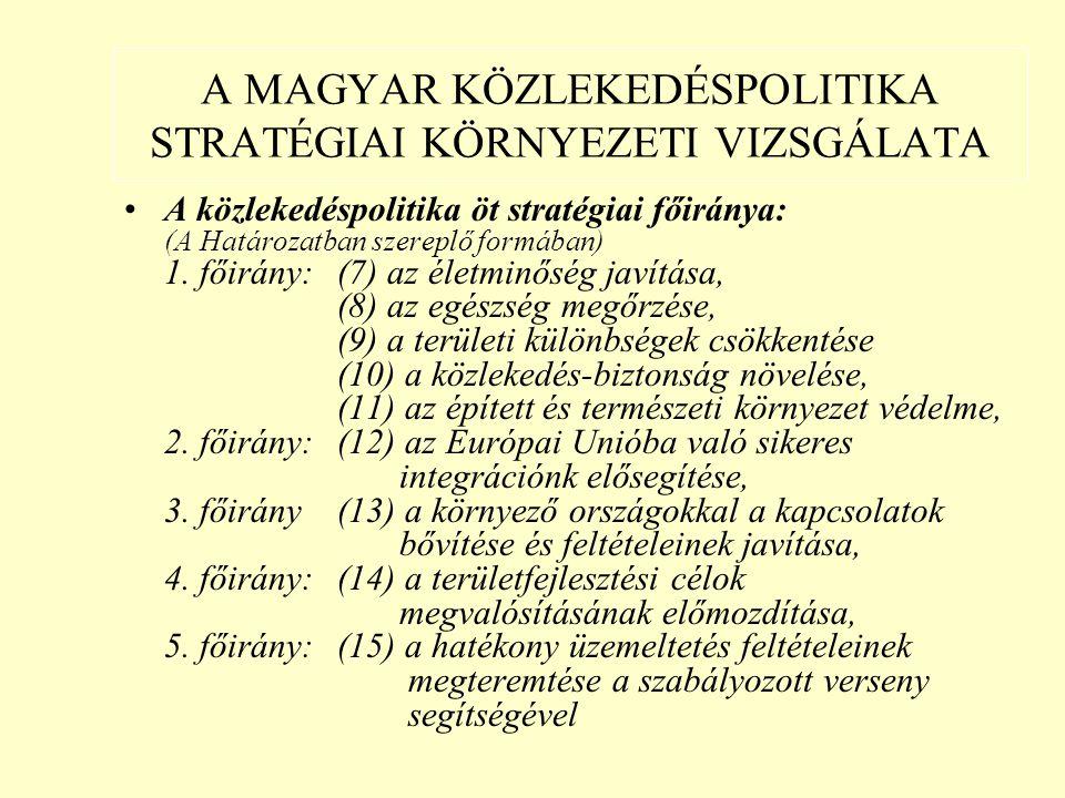 A MAGYAR KÖZLEKEDÉSPOLITIKA STRATÉGIAI KÖRNYEZETI VIZSGÁLATA A közlekedéspolitika öt stratégiai főiránya: (A Határozatban szereplő formában) 1.