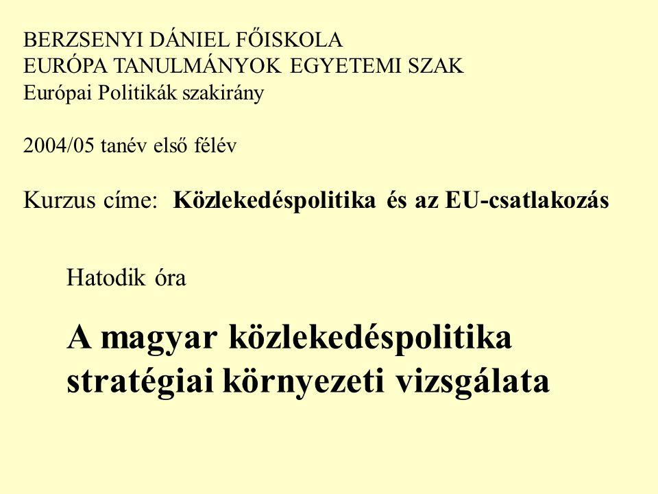 BERZSENYI DÁNIEL FŐISKOLA EURÓPA TANULMÁNYOK EGYETEMI SZAK Európai Politikák szakirány 2004/05 tanév első félév Kurzus címe: Közlekedéspolitika és az EU-csatlakozás Hatodik óra A magyar közlekedéspolitika stratégiai környezeti vizsgálata
