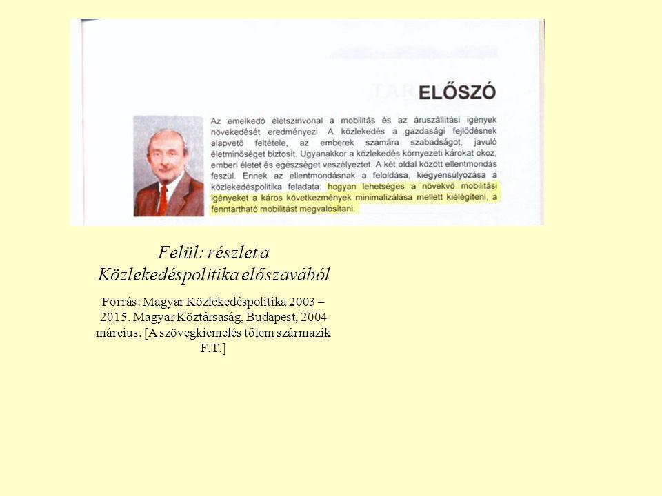 Felül: részlet a Közlekedéspolitika előszavából Forrás: Magyar Közlekedéspolitika 2003 – 2015.