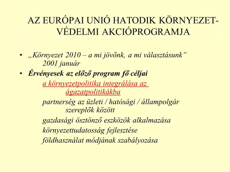 """AZ EURÓPAI UNIÓ HATODIK KÖRNYEZET- VÉDELMI AKCIÓPROGRAMJA """"Környezet 2010 – a mi jövőnk, a mi választásunk 2001 január Érvényesek az előző program fő céljai a környezetpolitika integrálása az ágazatpolitikákba partnerség az üzleti / hatósági / állampolgár szereplők között gazdasági ösztönző eszközök alkalmazása környezettudatosság fejlesztése földhasználat módjának szabályozása"""