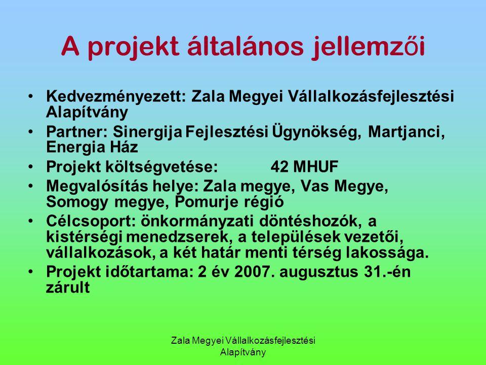 Zala Megyei Vállalkozásfejlesztési Alapítvány A projekt általános jellemz ő i Kedvezményezett: Zala Megyei Vállalkozásfejlesztési Alapítvány Partner: