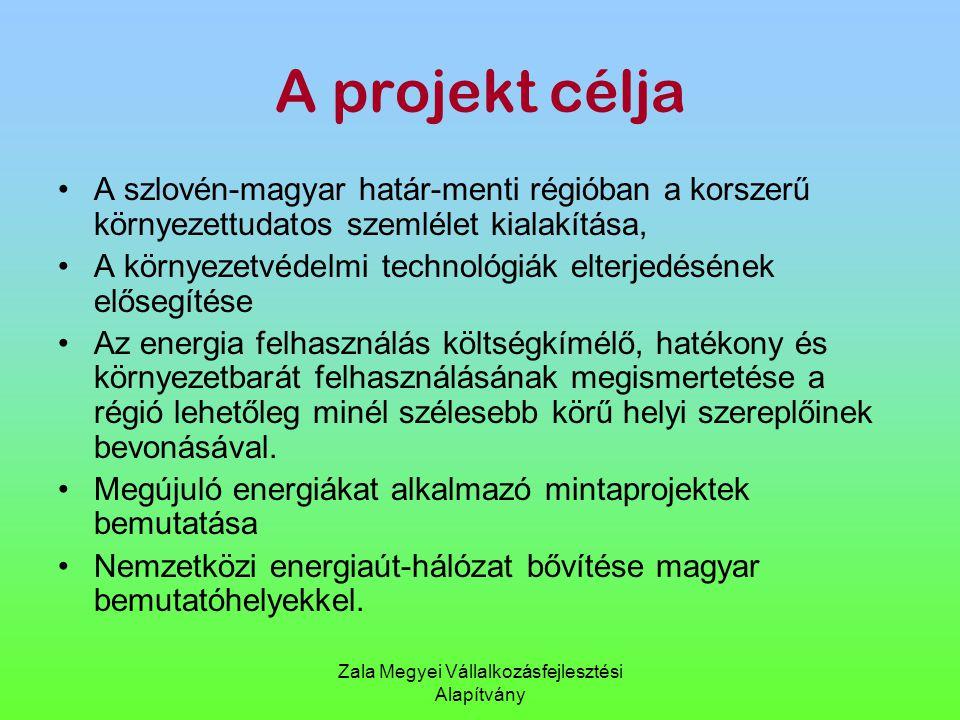 Zala Megyei Vállalkozásfejlesztési Alapítvány A projekt célja A szlovén-magyar határ-menti régióban a korszerű környezettudatos szemlélet kialakítása,