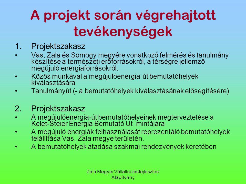 Zala Megyei Vállalkozásfejlesztési Alapítvány A projekt során végrehajtott tevékenységek 1.Projektszakasz Vas, Zala és Somogy megyére vonatkozó felmér