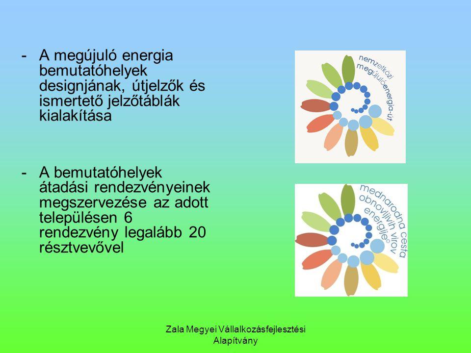 Zala Megyei Vállalkozásfejlesztési Alapítvány -A megújuló energia bemutatóhelyek designjának, útjelzők és ismertető jelzőtáblák kialakítása -A bemutat