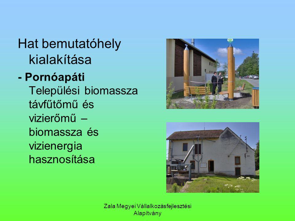 Zala Megyei Vállalkozásfejlesztési Alapítvány Hat bemutatóhely kialakítása - Pornóapáti Települési biomassza távfűtőmű és vizierőmű – biomassza és viz