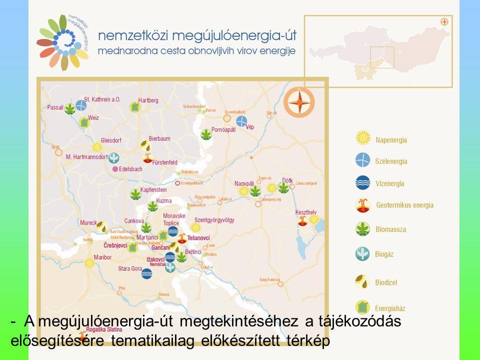 Zala Megyei Vállalkozásfejlesztési Alapítvány - A megújulóenergia-út megtekintéséhez a tájékozódás elősegítésére tematikailag előkészített térkép