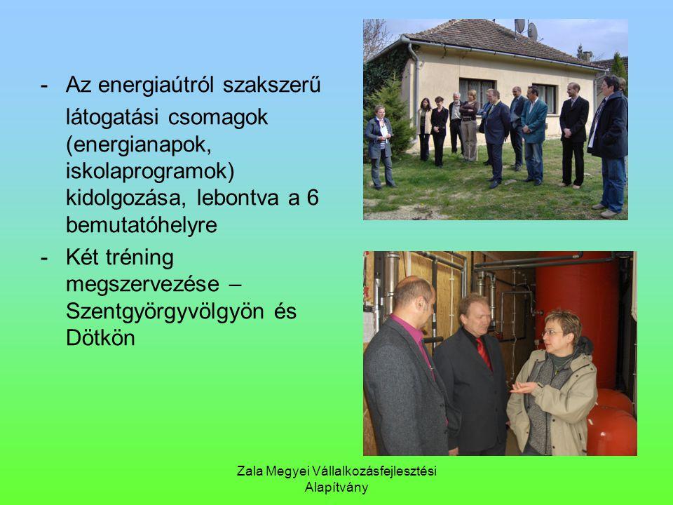 Zala Megyei Vállalkozásfejlesztési Alapítvány - Az energiaútról szakszerű látogatási csomagok (energianapok, iskolaprogramok) kidolgozása, lebontva a