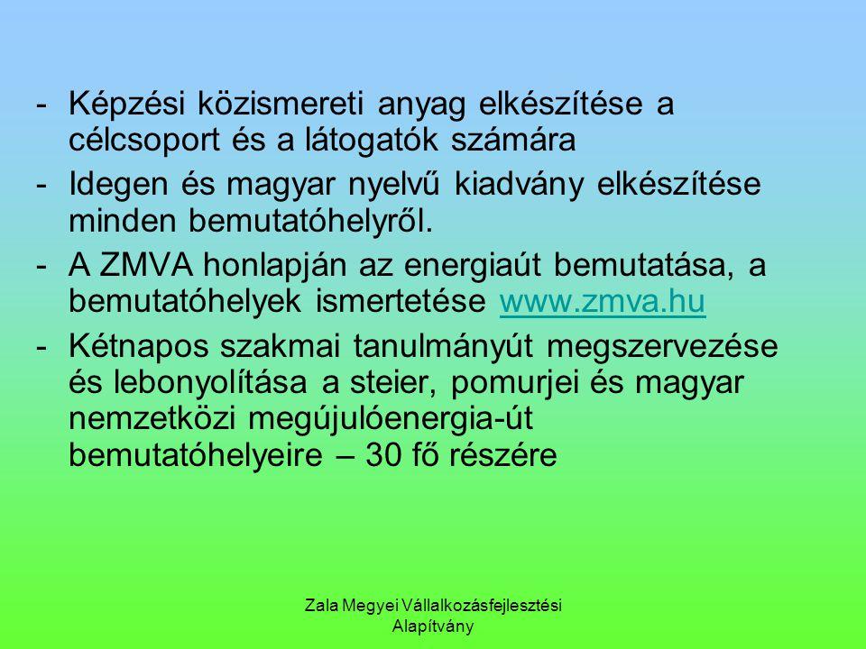 Zala Megyei Vállalkozásfejlesztési Alapítvány -Képzési közismereti anyag elkészítése a célcsoport és a látogatók számára -Idegen és magyar nyelvű kiad