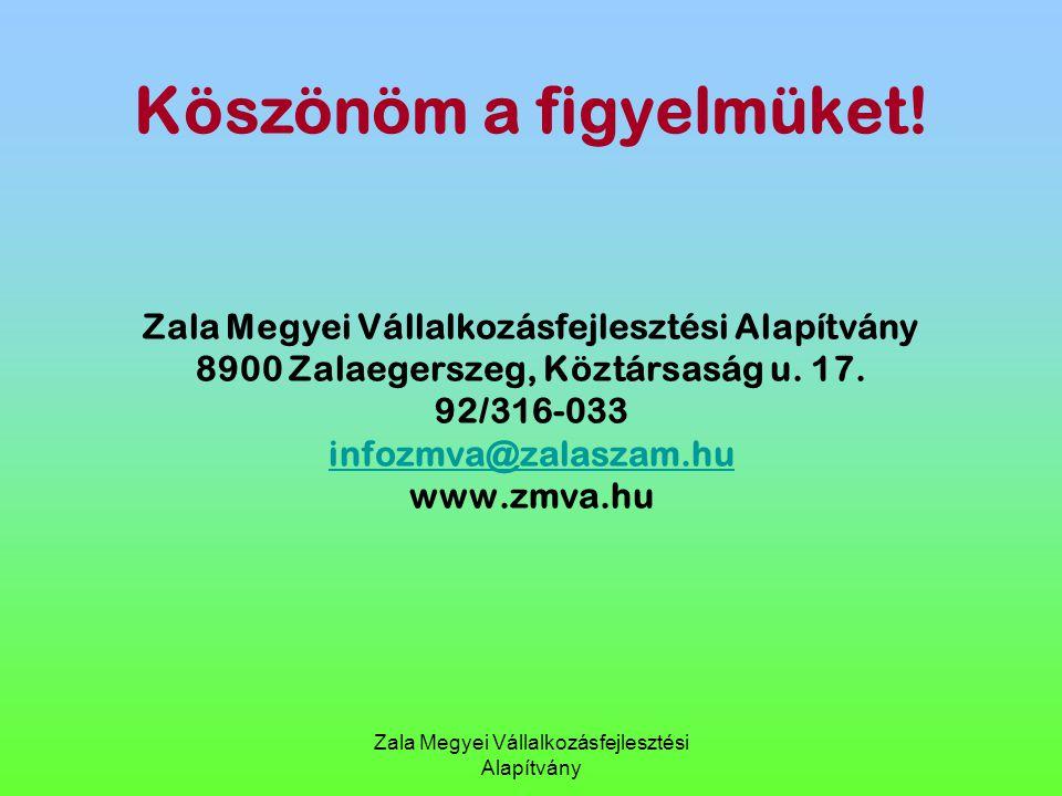 Zala Megyei Vállalkozásfejlesztési Alapítvány Köszönöm a figyelmüket! Zala Megyei Vállalkozásfejlesztési Alapítvány 8900 Zalaegerszeg, Köztársaság u.