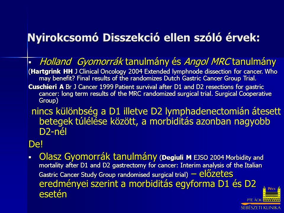 Nyirokcsomó Disszekció ellen szóló érvek:  Holland Gyomorrák tanulmány és Angol MRC tanulmány (Hartgrink HH J Clinical Oncology 2004 Extended lymphnode dissection for cancer.