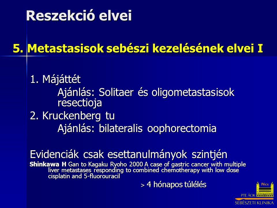 5. Metastasisok sebészi kezelésének elvei I 1. Májáttét Ajánlás: Solitaer és oligometastasisok resectioja 2. Kruckenberg tu Ajánlás: bilateralis oopho