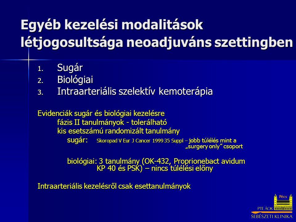 Egyéb kezelési modalitások létjogosultsága neoadjuváns szettingben 1. Sugár 2. Biológiai 3. Intraarteriális szelektív kemoterápia Evidenciák sugár és