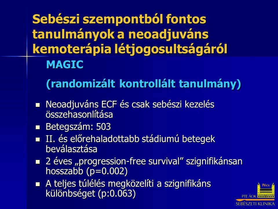 MAGIC (randomizált kontrollált tanulmány) Neoadjuváns ECF és csak sebészi kezelés összehasonlítása Neoadjuváns ECF és csak sebészi kezelés összehasonlítása Betegszám: 503 Betegszám: 503 II.