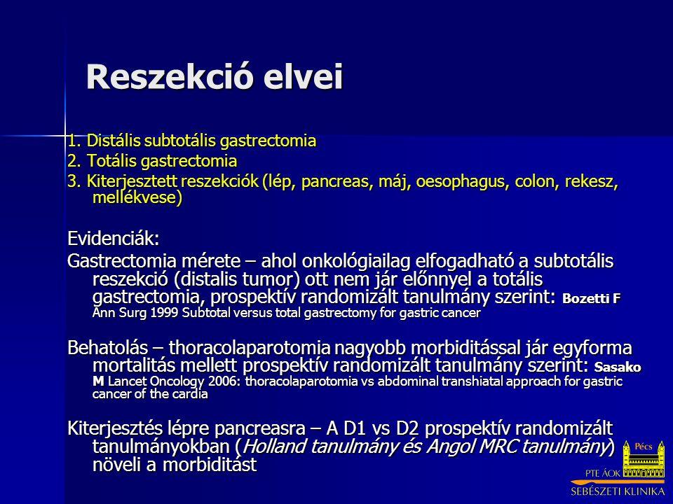 Reszekció elvei 1. Distális subtotális gastrectomia 2. Totális gastrectomia 3. Kiterjesztett reszekciók (lép, pancreas, máj, oesophagus, colon, rekesz
