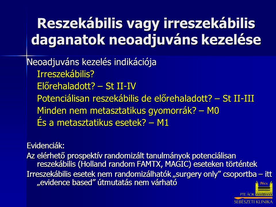 Reszekábilis vagy irreszekábilis daganatok neoadjuváns kezelése Neoadjuváns kezelés indikációja Irreszekábilis? Előrehaladott? – St II-IV Potenciálisa
