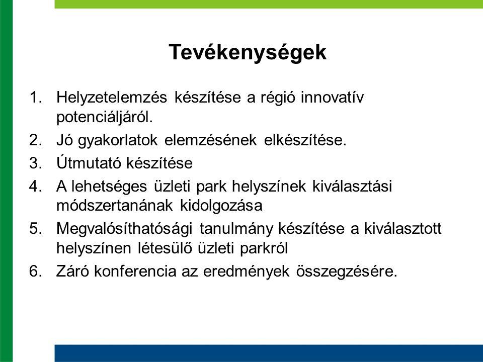 1.Helyzetelemzés készítése a régió innovatív potenciáljáról. 2.Jó gyakorlatok elemzésének elkészítése. 3.Útmutató készítése 4.A lehetséges üzleti park