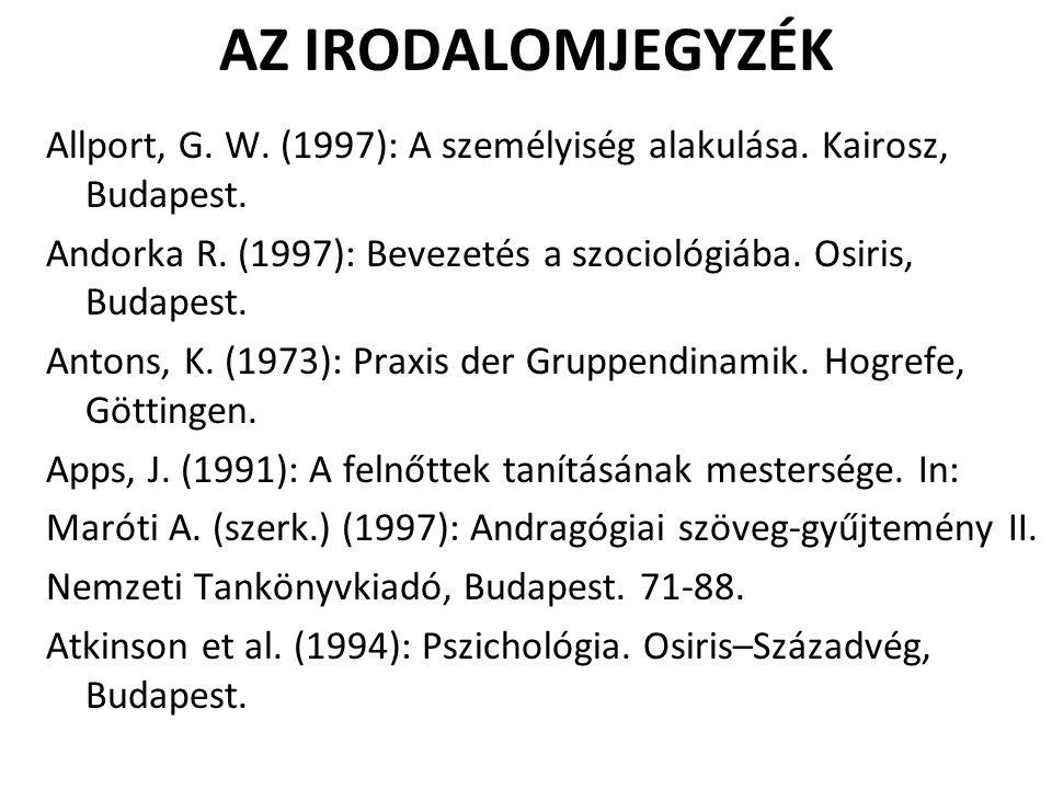 AZ IRODALOMJEGYZÉK Allport, G. W. (1997): A személyiség alakulása. Kairosz, Budapest. Andorka R. (1997): Bevezetés a szociológiába. Osiris, Budapest.