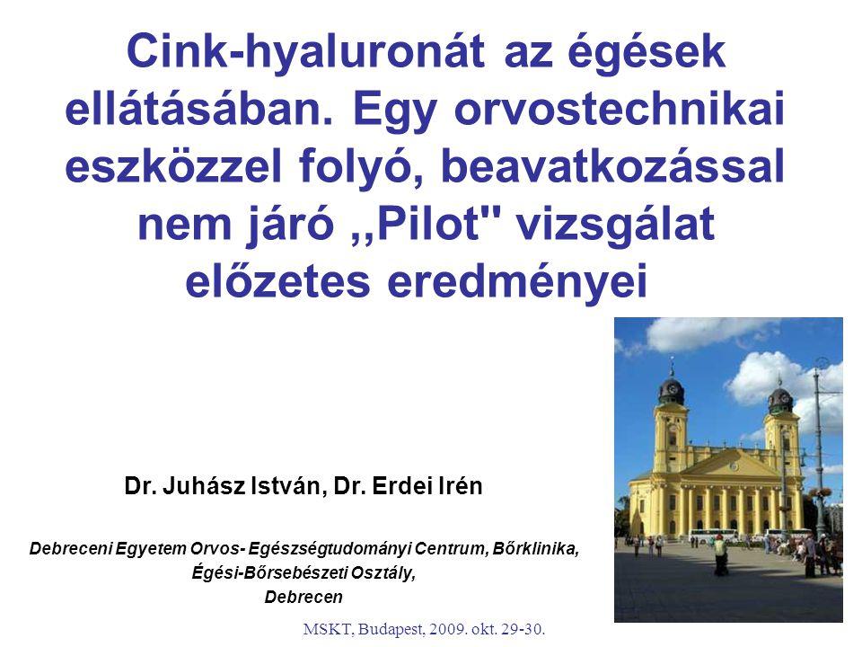 MSKT, Budapest, 2009. okt. 29-30. Cink-hyaluronát az égések ellátásában. Egy orvostechnikai eszközzel folyó, beavatkozással nem járó,,Pilot'' vizsgála