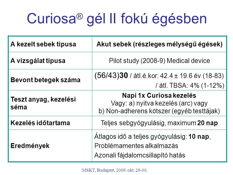 MSKT, Budapest, 2009. okt. 29-30. A kezelt sebek tipusaAkut sebek (részleges mélységű égések) A vizsgálat tipusaPilot study (2008-9) Medical device Be