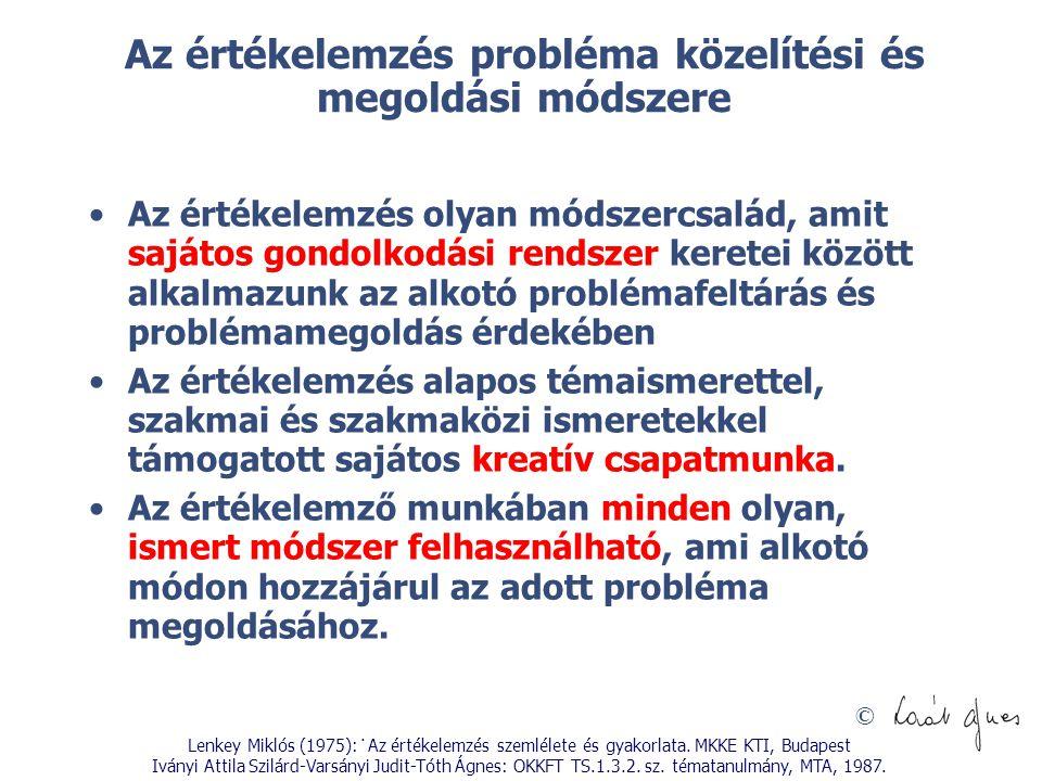 © Az értékelemzés probléma közelítési és megoldási módszere Az értékelemzés olyan módszercsalád, amit sajátos gondolkodási rendszer keretei között alk