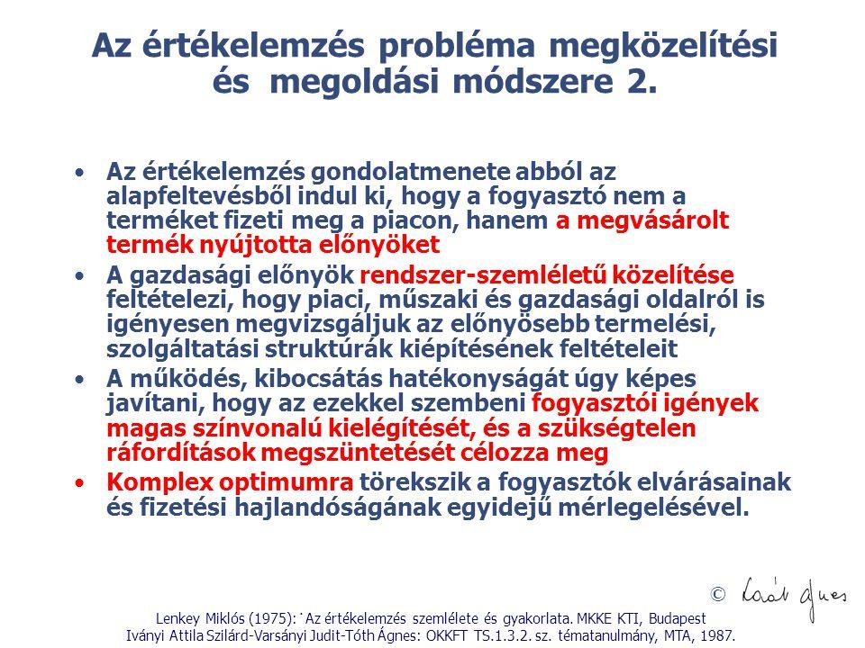 © Az értékelemzés probléma megközelítési és megoldási módszere 2. Az értékelemzés gondolatmenete abból az alapfeltevésből indul ki, hogy a fogyasztó n