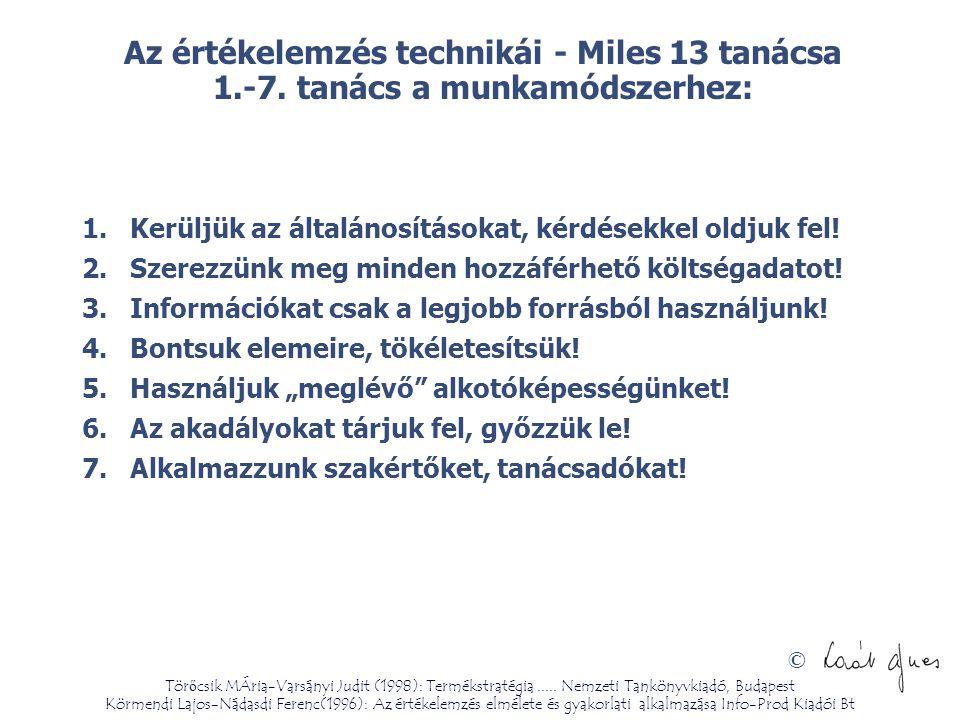 © Az értékelemzés technikái - Miles 13 tanácsa 1.-7. tanács a munkamódszerhez: 1.Kerüljük az általánosításokat, kérdésekkel oldjuk fel! 2.Szerezzünk m