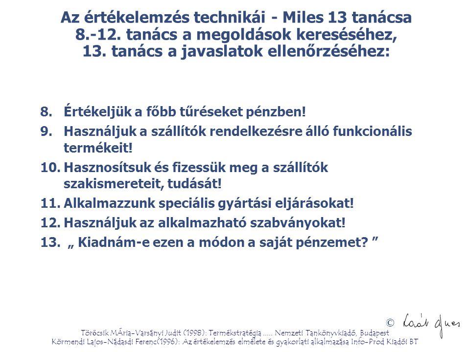© Az értékelemzés technikái - Miles 13 tanácsa 8.-12. tanács a megoldások kereséséhez, 13. tanács a javaslatok ellenőrzéséhez: 8.Értékeljük a főbb tűr