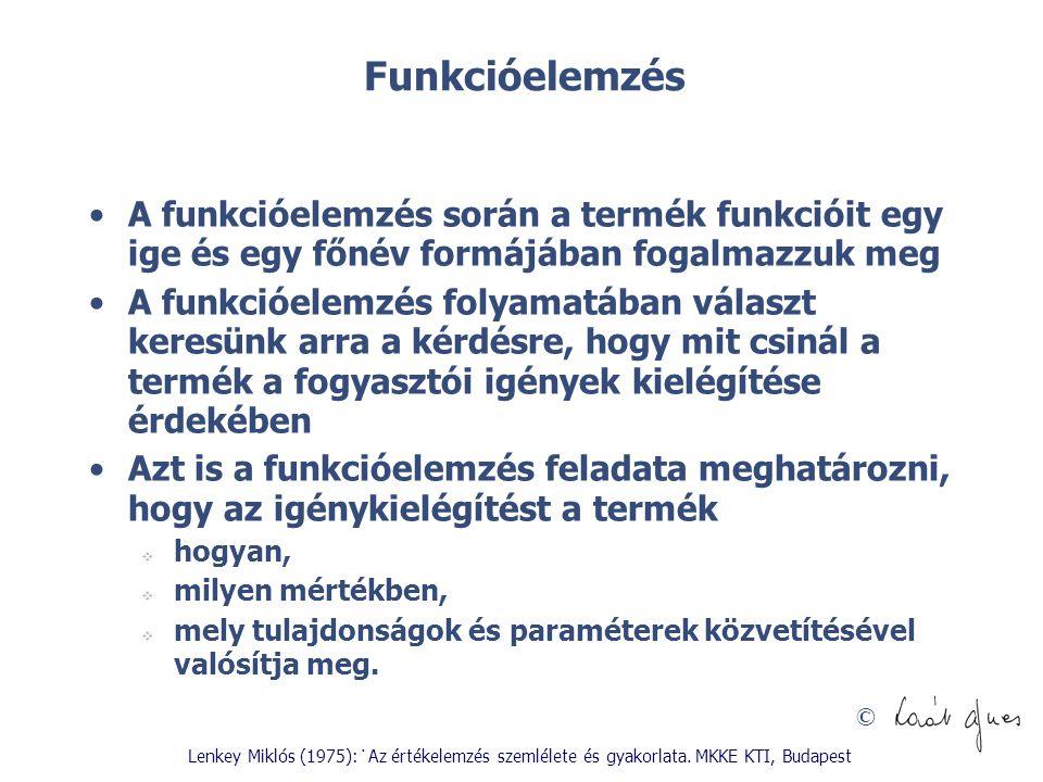 © Funkcióelemzés A funkcióelemzés során a termék funkcióit egy ige és egy főnév formájában fogalmazzuk meg A funkcióelemzés folyamatában választ keres