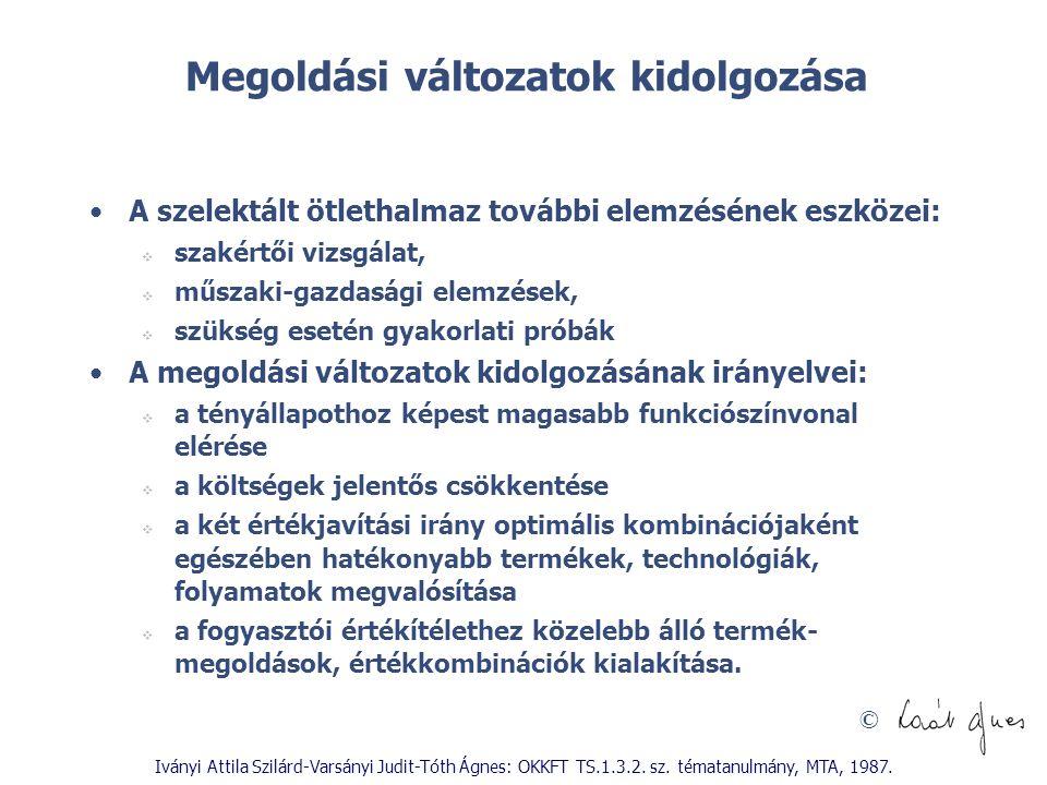 © Iványi Attila Szilárd-Varsányi Judit-Tóth Ágnes: OKKFT TS.1.3.2. sz. tématanulmány, MTA, 1987. Megoldási változatok kidolgozása A szelektált ötletha