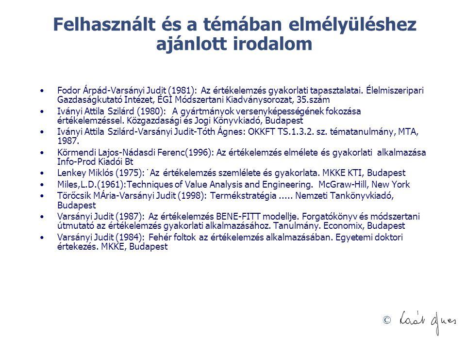 © Felhasznált és a témában elmélyüléshez ajánlott irodalom Fodor Árpád-Varsányi Judit (1981): Az értékelemzés gyakorlati tapasztalatai. Élelmiszeripar