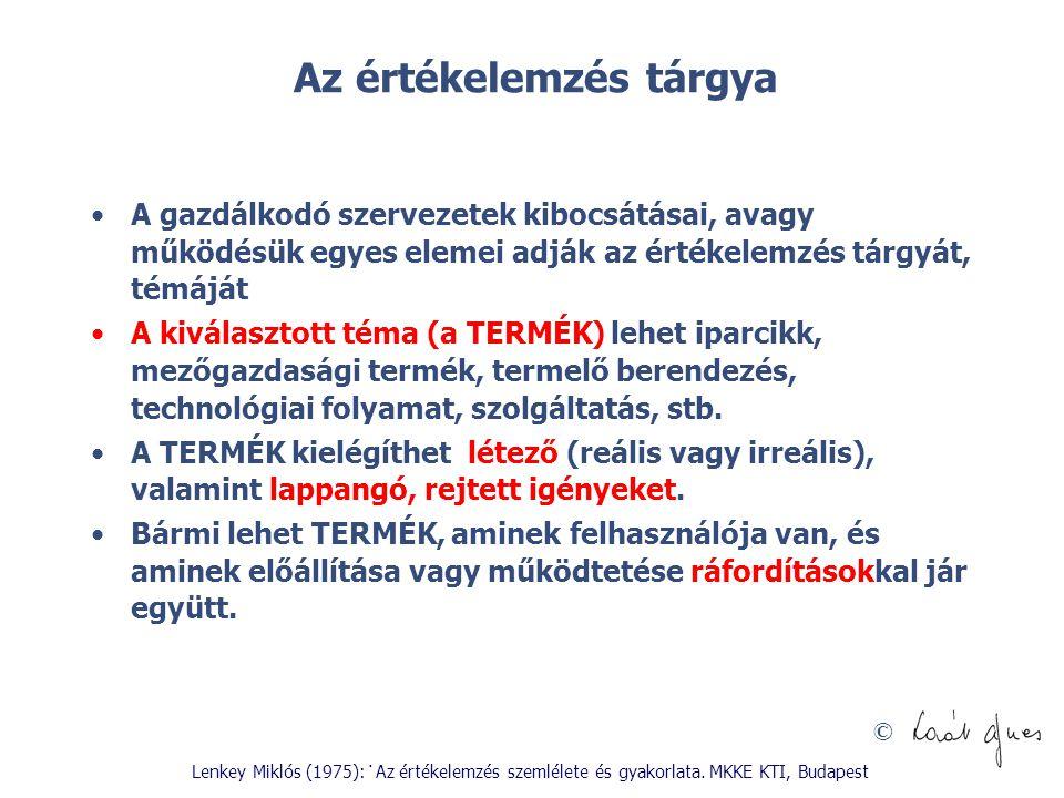 © Kritikus pontok az értékelemzés gyakorlatában Varsányi Judit (1984): Fehér foltok az értékelemzés alkalmazásában.