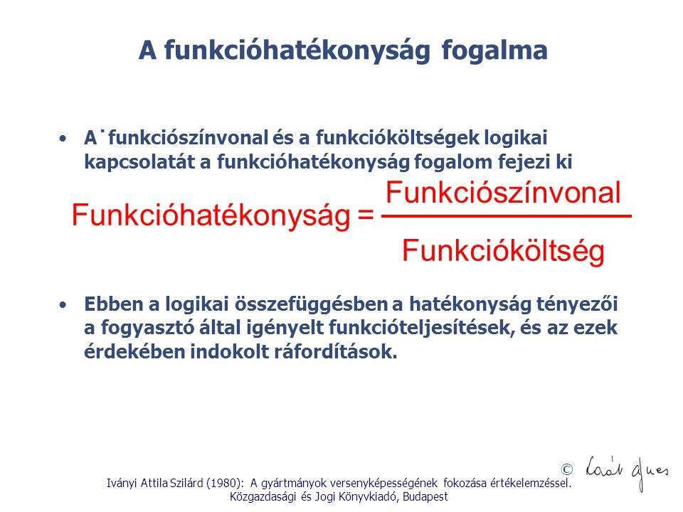 © A funkcióhatékonyság fogalma A˙funkciószínvonal és a funkcióköltségek logikai kapcsolatát a funkcióhatékonyság fogalom fejezi ki Ebben a logikai öss