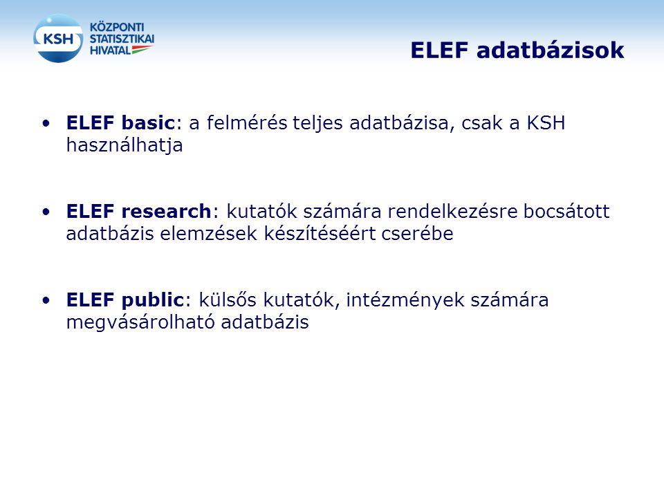 ELEF adatbázisok ELEF basic: a felmérés teljes adatbázisa, csak a KSH használhatja ELEF research: kutatók számára rendelkezésre bocsátott adatbázis el