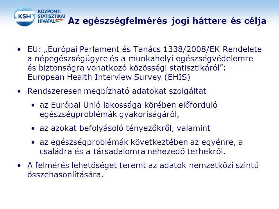 """Az egészségfelmérés jogi háttere és célja EU: """"Európai Parlament és Tanács 1338/2008/EK Rendelete a népegészségügyre és a munkahelyi egészségvédelemre"""