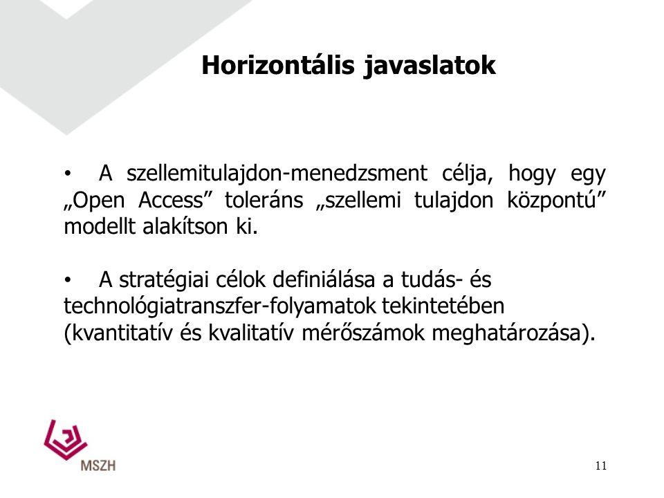 """Horizontális javaslatok A szellemitulajdon-menedzsment célja, hogy egy """"Open Access toleráns """"szellemi tulajdon központú modellt alakítson ki."""