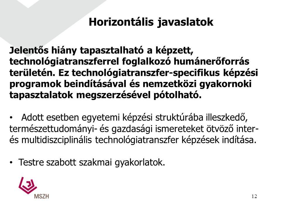 Horizontális javaslatok Jelentős hiány tapasztalható a képzett, technológiatranszferrel foglalkozó humánerőforrás területén.