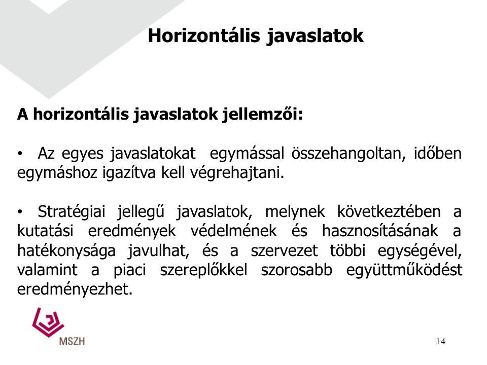 Horizontális javaslatok A horizontális javaslatok jellemzői: Az egyes javaslatokat egymással összehangoltan, időben egymáshoz igazítva kell végrehajtani.