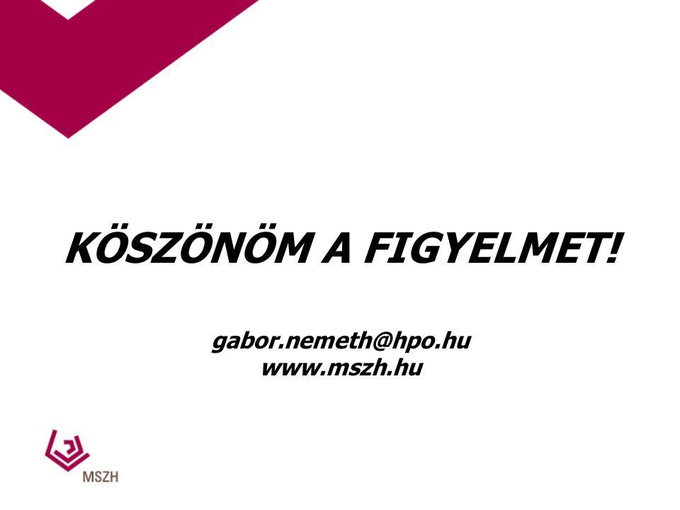 KÖSZÖNÖM A FIGYELMET! gabor.nemeth@hpo.hu www.mszh.hu