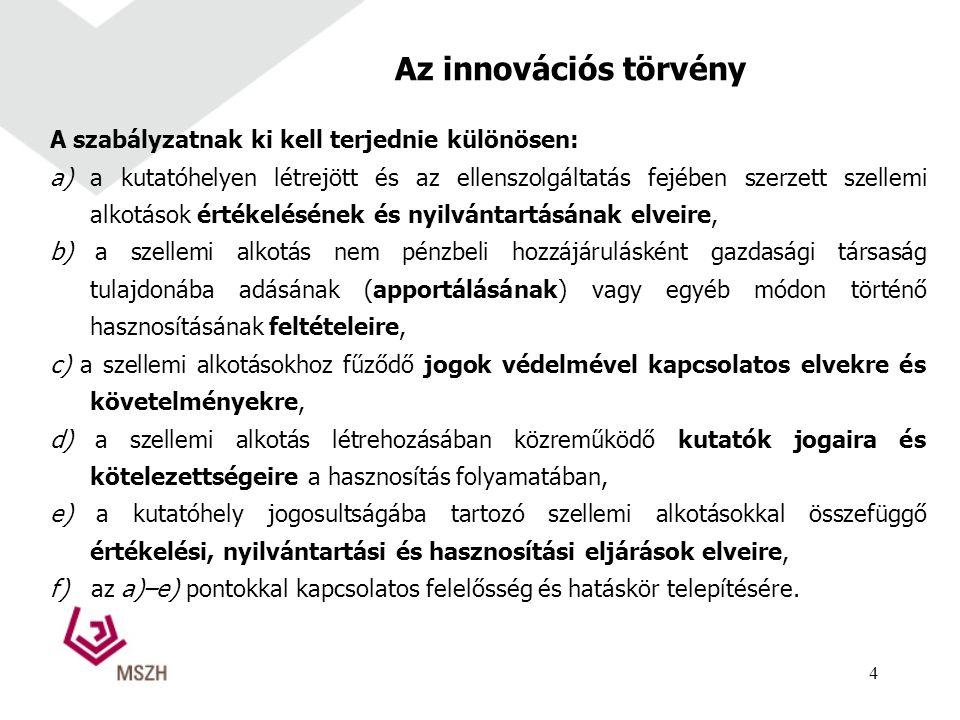 Az innovációs törvény A szabályzatnak ki kell terjednie különösen: a) a kutatóhelyen létrejött és az ellenszolgáltatás fejében szerzett szellemi alkotások értékelésének és nyilvántartásának elveire, b) a szellemi alkotás nem pénzbeli hozzájárulásként gazdasági társaság tulajdonába adásának (apportálásának) vagy egyéb módon történő hasznosításának feltételeire, c) a szellemi alkotásokhoz fűződő jogok védelmével kapcsolatos elvekre és követelményekre, d) a szellemi alkotás létrehozásában közreműködő kutatók jogaira és kötelezettségeire a hasznosítás folyamatában, e) a kutatóhely jogosultságába tartozó szellemi alkotásokkal összefüggő értékelési, nyilvántartási és hasznosítási eljárások elveire, f) az a)–e) pontokkal kapcsolatos felelősség és hatáskör telepítésére.