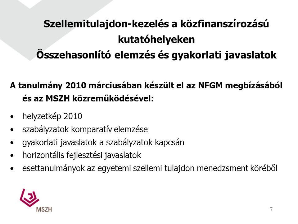 Szellemitulajdon-kezelés a közfinanszírozású kutatóhelyeken Összehasonlító elemzés és gyakorlati javaslatok A tanulmány 2010 márciusában készült el az NFGM megbízásából és az MSZH közreműködésével: helyzetkép 2010 szabályzatok komparatív elemzése gyakorlati javaslatok a szabályzatok kapcsán horizontális fejlesztési javaslatok esettanulmányok az egyetemi szellemi tulajdon menedzsment köréből 7