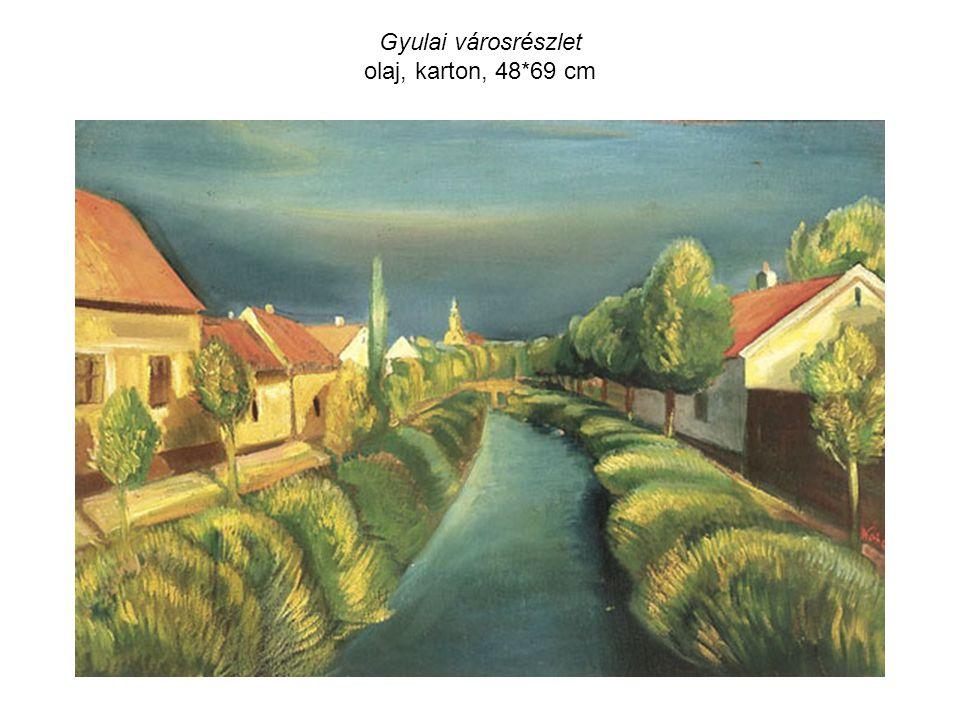 Gyulai városrészlet olaj, karton, 48*69 cm