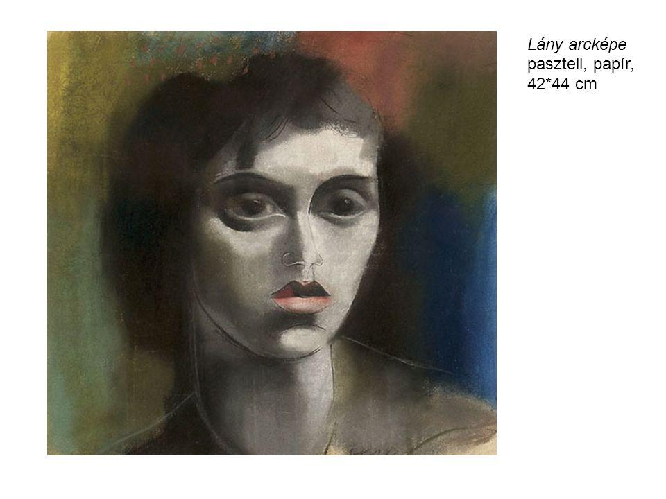 Lány arcképe pasztell, papír, 42*44 cm