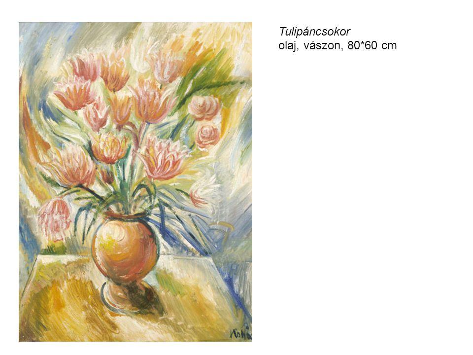 Tulipáncsokor olaj, vászon, 80*60 cm